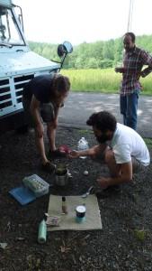 May 13 - Crozet, VA - Cooking Duck Eggs in Paul's Driveway